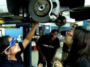 Students work on the EVX Focus